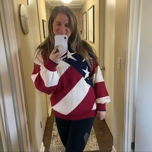 Liberty USA American Flag Knit Vintage Sweater